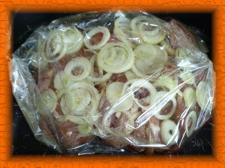 Укладываем свинину в пакет, пересыпая луком, и ставим в духовку