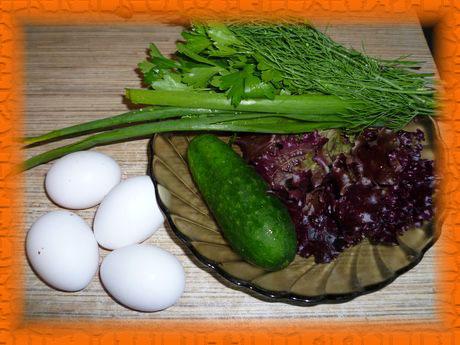 Моем овощи и зелень, варим яйца