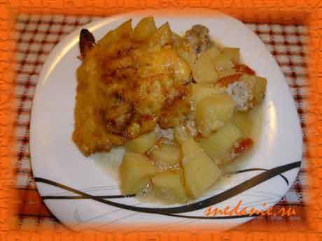 Ленивое жаркое из свинины с картошкой и грибами - рецепт с фото